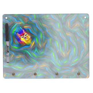 Psychedelic Colour Flow Lynx Portrait Dry Erase Board With Key Ring Holder