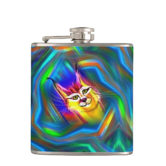 Psychedelic Colour Flow Lynx Portrait Hip Flask