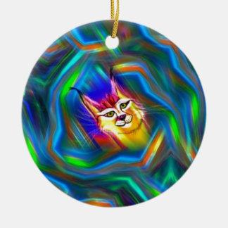 Psychedelic Colour Flow Lynx Portrait Round Ceramic Decoration