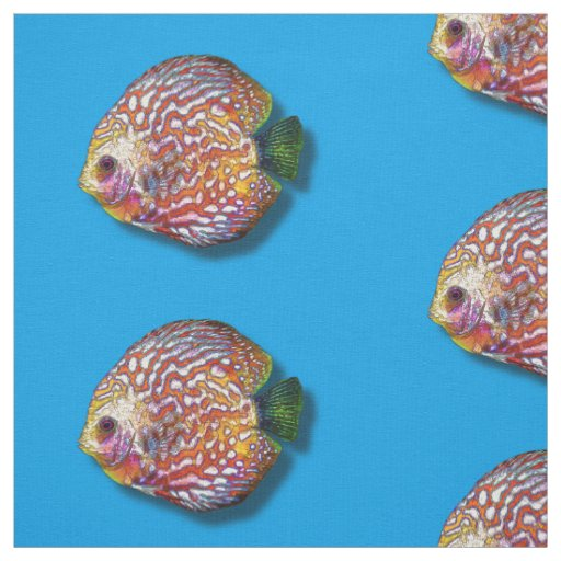 Psychedelic Colourful Exotic Discus Fish Drawing Fabric
