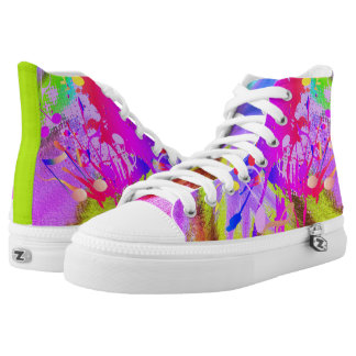 Psychedelic Colourful Paint Splash Music Abstract High Tops