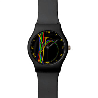 Psychedelic Cool Fractal Neon Glow Abstract Watch