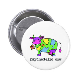 psychedelic cow 6 cm round badge