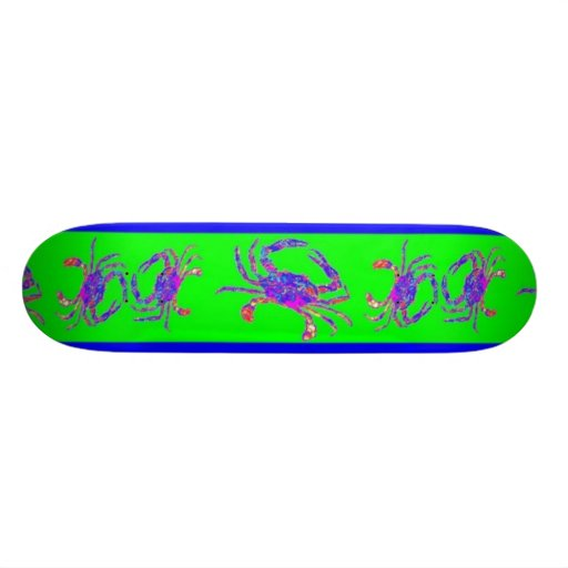 Psychedelic Crabs Green Surf Board by SHARLES Skate Board