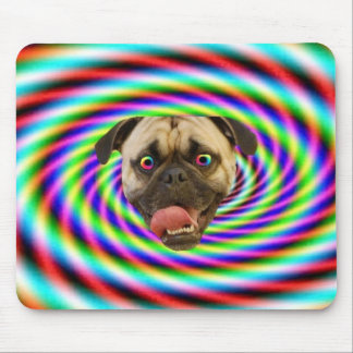 Psychedelic Crazy Pug Dog Mouse Pad