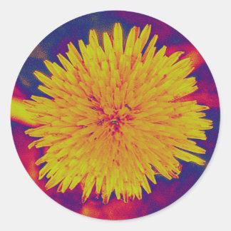 Psychedelic dandelion round sticker