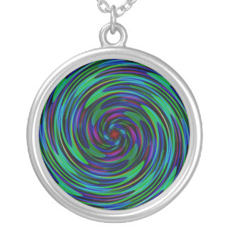 Psychedelic Dark Swirls Round Pendant Necklace