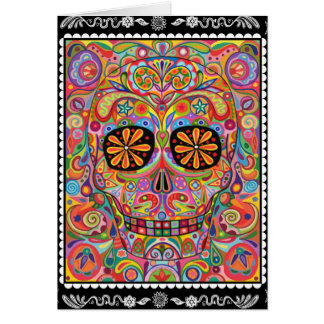 Psychedelic Day of the Dead Card Sugar Skull Art