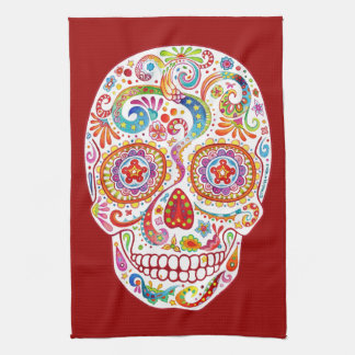 Psychedelic Day of the Dead Kitchen Towel