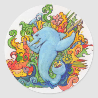 Psychedelic Dolphin Round Sticker