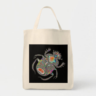 Psychedelic Egyptian scarab beetle Grocery Tote Bag