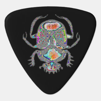 Psychedelic Egyptian scarab beetle guitar pick
