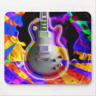 Psychedelic Electric Guitar and Flames Mouse Pad
