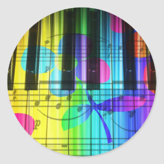 Psychedelic Electric Piano Keyboard and Flowers Round Stickers