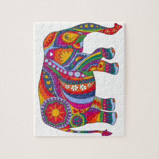 Psychedelic Elephant Jigsaw Puzzle
