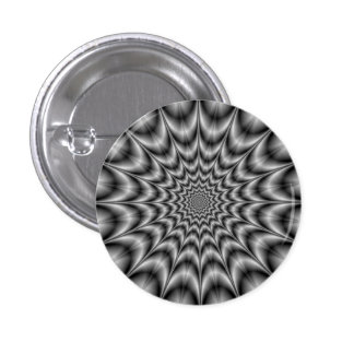 Psychedelic Explosion In Black and White Button