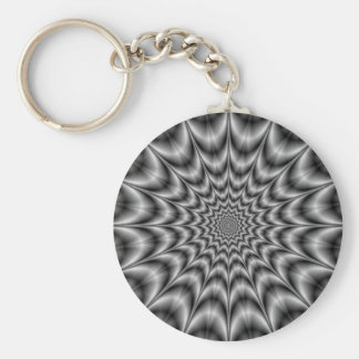 Psychedelic Explosion In Black and White Keychain