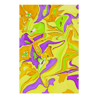 Psychedelic expressions in Yellow & Purple Art Poster