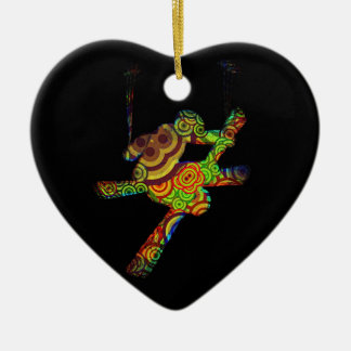 Psychedelic Extreme Ski Ceramic Heart Decoration