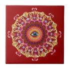 Psychedelic Eye Mandala Ceramic Tile