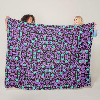 Psychedelic Fairy Garden Magic Satin Mandala Fleece Blanket