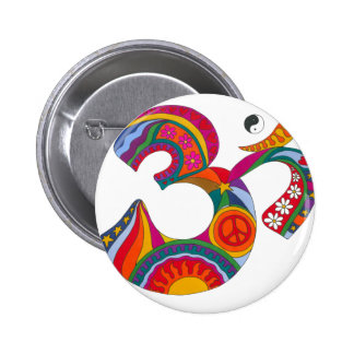 Psychedelic Fat Om 6 Cm Round Badge