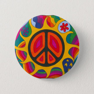 Psychedelic Flaming Peace 6 Cm Round Badge