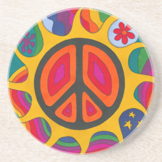 Psychedelic Flaming Peace Beverage Coasters