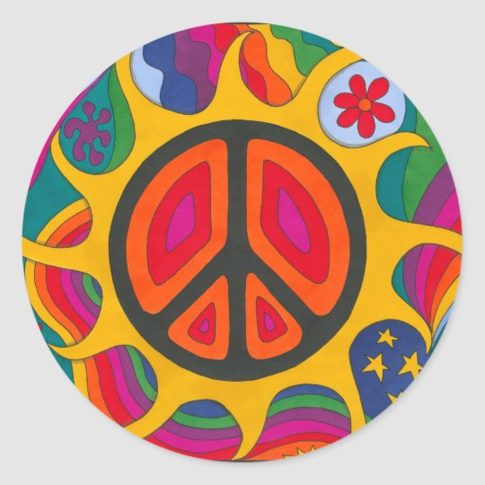 Psychedelic Flaming Peace Classic Round Sticker