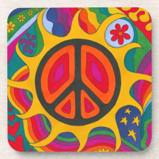Psychedelic Flaming Peace Coaster
