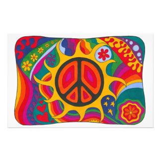 Psychedelic Flaming Peace Personalised Stationery