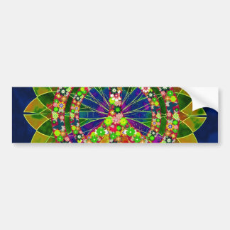 Psychedelic Floral Kaleidoscope Peace Sign Bumper Sticker