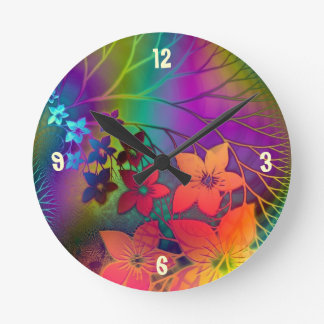 Psychedelic Floral Round Clock