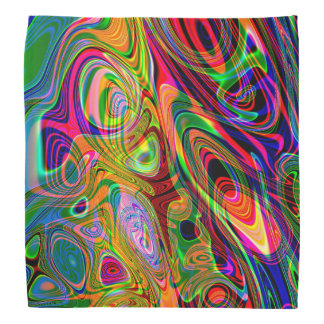 Psychedelic Florescent Abstract Twirls Kerchief