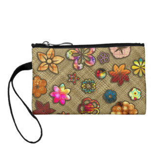 psychedelic flower basket weave coin purse