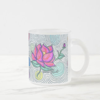 Psychedelic Flower Frosted Glass Coffee Mug