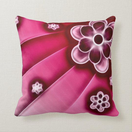 Psychedelic Flowers Fractal Plush Throw Pillow