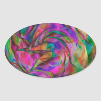 Psychedelic Flowers Oval Sticker