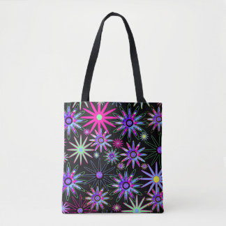 Psychedelic Flowers Tote Bag