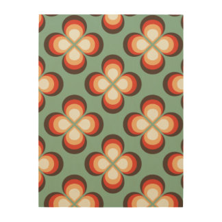 Psychedelic flowers wood print