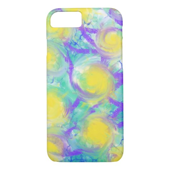Psychedelic Flowers Yellow Abstract Art Design iPhone 8/7