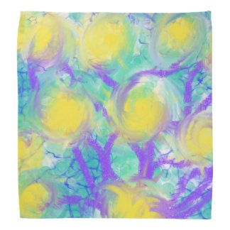 Psychedelic Flowers Yellow Abstract Art Design Kerchiefs