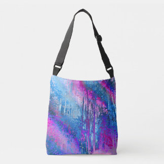 Psychedelic Forest (hot pink-sky blue) Crossbody Bag