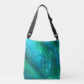 Psychedelic Forest (turquoise-spring green) Crossbody Bag