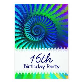 Psychedelic Fractal Blue Birthday Card
