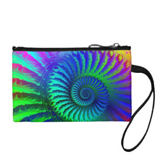 Psychedelic Fractal Blue Pattern Coin Purse