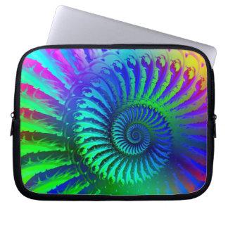 Psychedelic Fractal Blue Pattern Laptop Sleeve