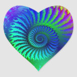 Psychedelic Fractal Blue Turquoise Heart Stickers