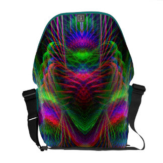 Psychedelic  Fractal Love Hearts Rickshaw Messenge Commuter Bags