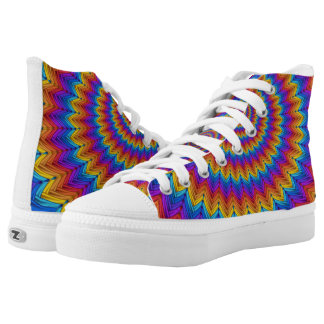 Psychedelic Fractal Spiral High Top Shoes